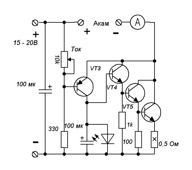 Зарядное устройство для автомобильного аккумулятора.  Схема.